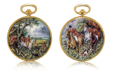 Patek Philippe   Reference 823/003, A unique, highly important and exceptional yellow gold hunting case watch with double sided enamel miniature, painted by Madame Marthe Bischoff after a painting by Carle Vernet, retailed by Gübelin and accompanied by...