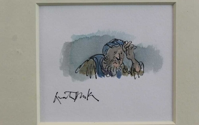*Quentin Blake (b.1932) pen, ink and watercolour - Woeful Man, signed, in glazed gilt frame Provenance: Chris Beetles Gallery, London