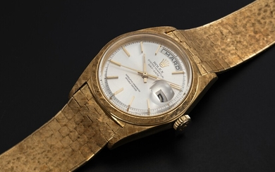 "ROLEX, A RARE GOLD OYSTER PERPETUAL DAY-DATE WITH ""FLORENTINE-FINISH"" CASE AND BRACELET, REF. 1806"