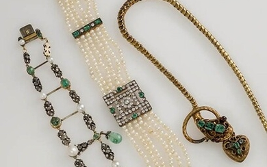 Silver-Topped, Yellow-Gold, Emerald, Pearl and Diamond Bracelet and Two Necklaces