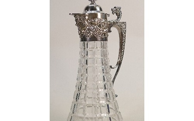 Silver mounted crystal wine decanter claret jug: Sheffield 1...