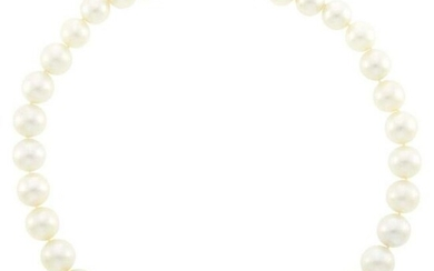 South Sea Cultured Pearl Necklace with White Gold and