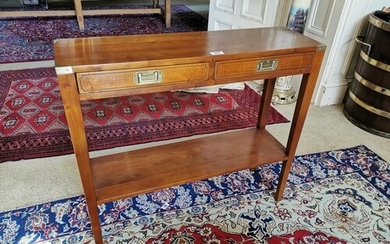 Stylish cherrywood side table with brass mounts the two draw...