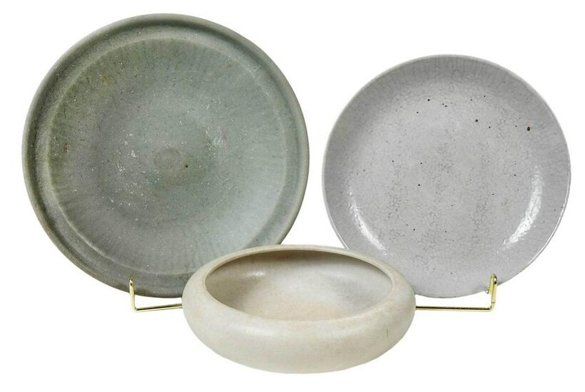 Three Chinese Gray and White Glazed Low Bowls