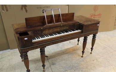Tomkison (c1825) A square piano in a rosewood, crossbanded ...