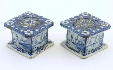Two Delft blue and white miniature stove / burners of