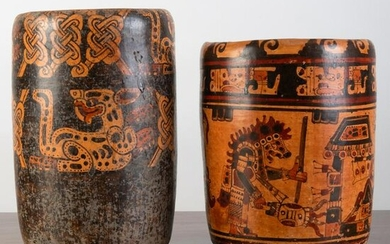 Two Pre-Columbian Polychrome Painted Pottery