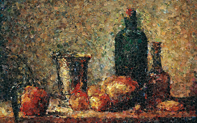 Vik Muniz, Seville Orange, Silver Goblet, Apples, Pear, and Two Bottles, After Chardin from Pictures of Magazines