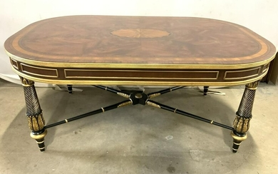 Vntg Inlaid Wooden Coffee Table W Ornate Legs