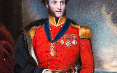 Waterloo Commander.- O'Malley (George, army officer).- Portrait of Major General George O'Malley in full dress uniform, watercolour on ivory, original velvet lined morocco case, [c. 1830s].