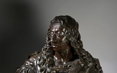 19th CENTURY FRENCH ECOLE, AFTER ANTOINE COYSEVOX (1640-1720). Bust of Prince Louis II of Bourbon-Condé, known as the Great Condé (1621-1686). Important bronze bust with brown patina, resting on a pedestal base, made after a lost wax by Susse...