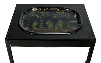 19th Century English Chinoiserie Table with Tray.