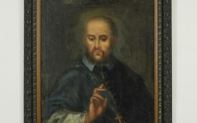 19th c. O/c on board portrait of St. Francis de Sales