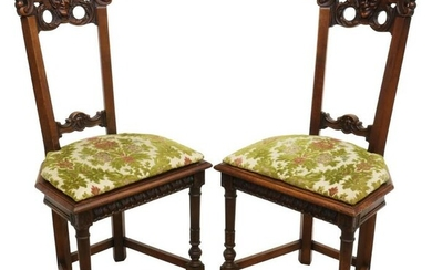 (2) FRENCH RENAISSANCE REVIVAL CARVED HALL CHAIRS