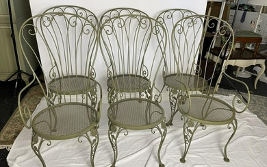 6 HOLLYWOOD REGENCY STYLE GREEN METAL CHAIRS