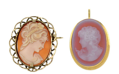 A 9ct gold shell cameo brooch and an 18ct gold agate cameo pendant.