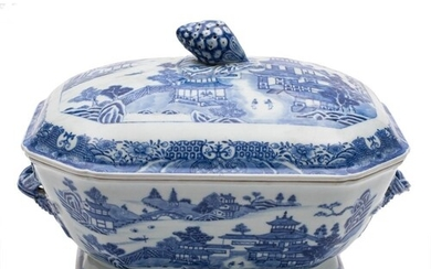 A Chinese blue and white tureen and cover: of octagonal form...