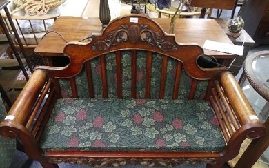 A Chinese export caned rosewood sofa, with shaped arched bac...