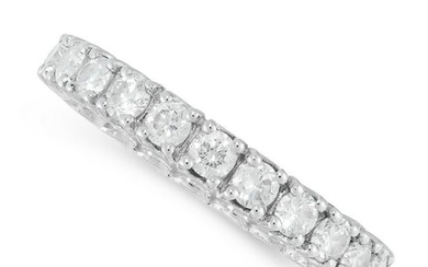 A DIAMOND ETERNITY RING in 18ct white gold, the band