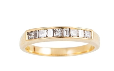 A DIAMOND HALF ETERNITY RING, channel set with princess and ...