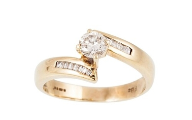A DIAMOND SOLITAIRE RING, to baguette diamond shoulders, mou...