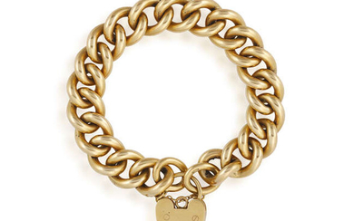 A GOLD CURB-LINK BRACELET WITH HEART PACKLOCK, in...