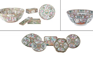 A Group of Chinese Rose Medallion Porcelain Articles