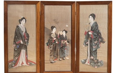 A JAPANESE PAINTED THREE PANEL SCREEN LATE 19TH EARLY 20TH CENTURY.