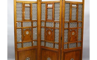 A LARGE ISLAMIC TURKISH OR SYRIAN CARVED WOOD AND INLAID MO...
