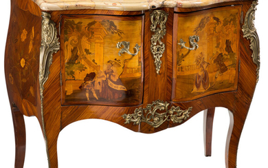 A Louis XV-Style Gilt Bronze Mounted Marquetry Inlaid Mahogany Commode with Marble Top (19th century)