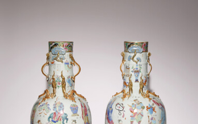 A PAIR OF RARE AND LARGE CHINESE CANTON FAMILLE ROSE 'ACTORS' VASES