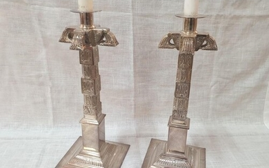 A Pair of Fine Silver Plated Large Candle Sticks in Aztec De...