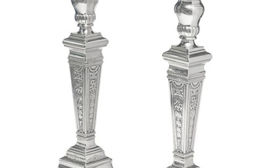 A Pair of Large Silver Candlesticks, Probably Italian, 20th Century