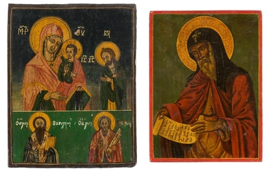 A TWO-PARTITE ICON SHOWING THE MOTHER OF GOD AND SELECTED...