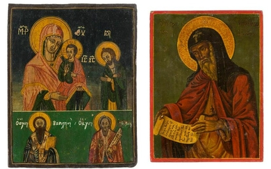 A TWO-PARTITE ICON SHOWING THE MOTHER OF GOD AND