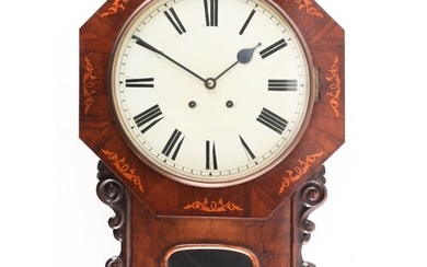 A Victorian inlaid walnut wall clock, with eight day movemen...