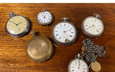 A group of pocket watches, including silver cased examples (...