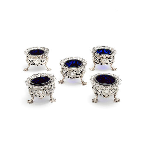 A matched set of five Victorian cast silver salts