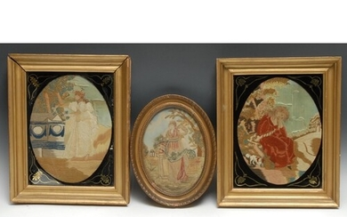 A pair of George III silk and needlework pictures, Maria and...