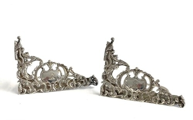 A pair of Victorian hallmarked silver menu holders with pier...