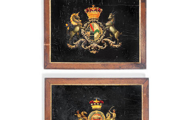 A rare pair of early 19th century crested coach panels painted with the armorial bearings of the Earl and Countess of Mulgrave and John Keane, 1st Baron Kean
