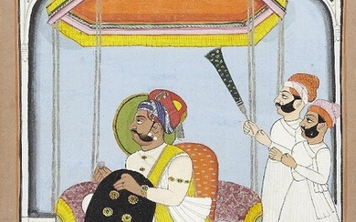 A seated ruler and attendants, Mewar, Punjab, India, circa 1900, opaque pigments heightened with gold and silver on paper, the ruler shown haloed and facing left, kneeling against a large bolster cushion and with a yellow carpet with lattice design...