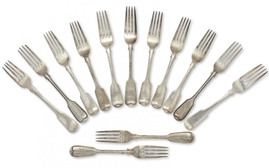 A set of five Victorian silver table forks, London, c.1840, Charles Lias, of plain fiddle pattern design, together with four further fiddle pattern silver table forks, two engraved with monograms, and two pairs of Victorian silver thread decorated...