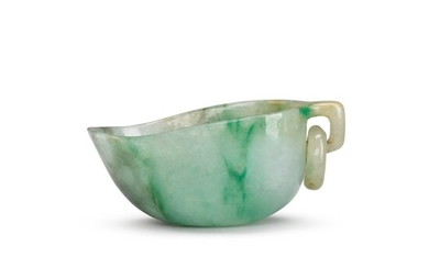 A small jadeite libation cup, 20th century   二十世紀 翠玉小盃, A small jadeite libation cup, 20th century   二十世紀 翠玉小盃