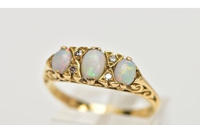 AN 18CT GOLD OPAL AND DIAMOND HALF HOOP RING, three oval cab...