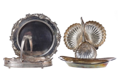 AN EARLY 20TH CENTURY SILVER PLATED SERVING DISH, ALONG WITH A HOT PLATE, COMPORT AND BASKET