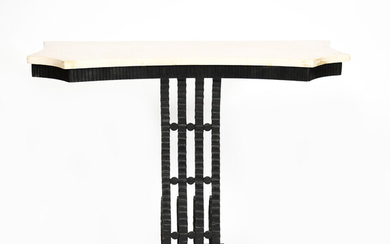 An Art Deco patinated wrought iron console table with white marble top in the manner of Edgar Brandt