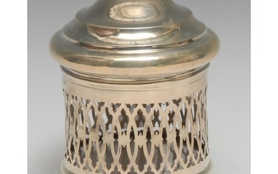 An Edwardian silver cylindrical string box, domed cover, pie...