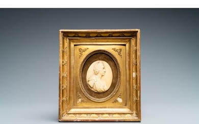 An ivory profile bust of a Roman emperor, 18th C.Lot subject...