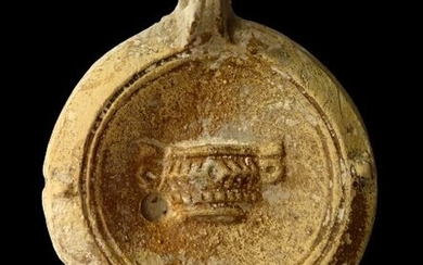 Ancient Roman Ceramic Large oil lamp with canthare decoration - potter's mark M.NOV.IV